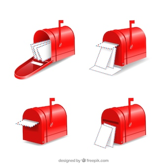 Set of four red mailboxes