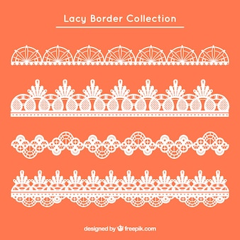Set of four retro lace borders