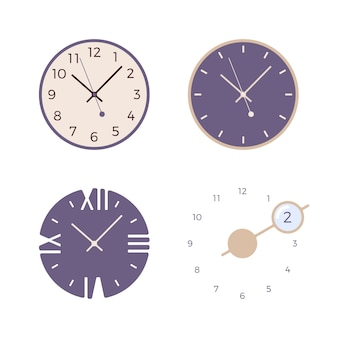 Set of four retro wall clocks