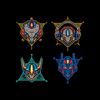 Set of four robot head with sacred geometry vector illustration