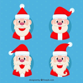 Set of four santa claus with red hat and funny face