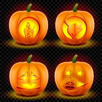 Set of four scary glowing pumpkins