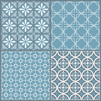 Set of four seamless geometric pattern