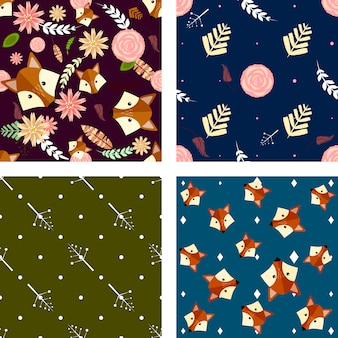Set of four seamless pattern with floral elements and foxes