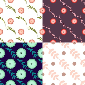 Set of four seamless pattern with floral elements