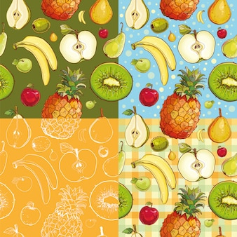 Set of four seamless patterns with kiwi, pineapple, banana, apple, pear.