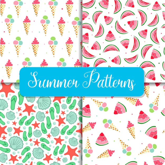 Set of four seamless summer patterns