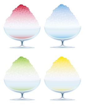 Set of four shaved ice isolated on a white background,  illustration.