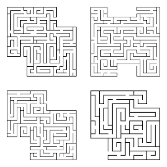 Set of four solated black mazes, labyrinth beginning complexity on white background.