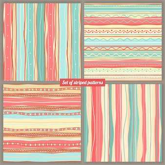 Set of four striped colored backgrounds