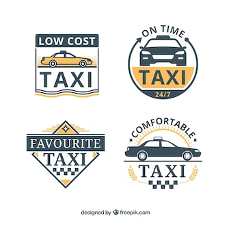 Set of four taxi badges in flat design