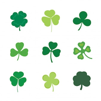 Set of four and three leaf clover