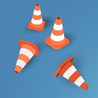 Set of four traffic cones on blue background - vector illustration