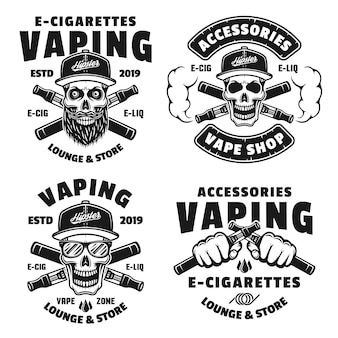 Set of four vaping and electronic cigarettes vector monochrome emblems, labels, badges or logos isolated on white background