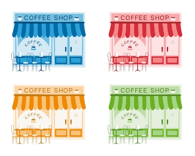 Set of four vector illustrations of coffee shop front
