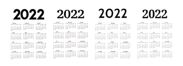 Set of four vertical calendars for 2022 isolated on a white background. sunday to monday, business template. vector illustration