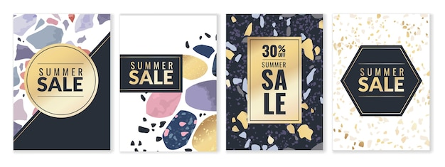 Set of four vertical discount posters with terrazzo textures and gold frames and lettering.