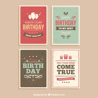 Set of four vintage birthday cards