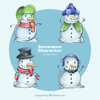 Set of four watercolor snowmen