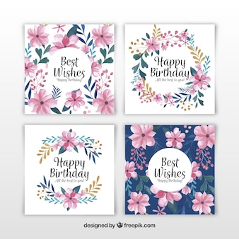 Set of four watercolour birthday cards with flowers