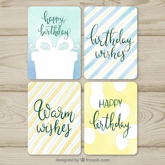 Set of four watercolour birthday cards