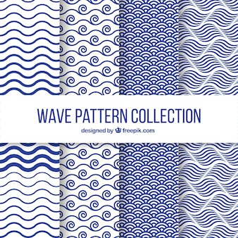 Set of four wave patterns in flat design