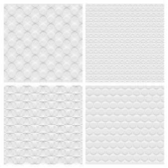 Set of four white background seamless pattern with circles