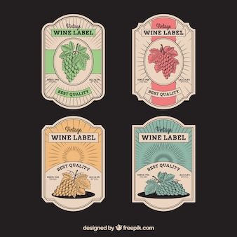 Set of four wine stickers in retro style