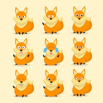 Set of fox cartoon characters