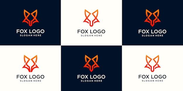 Set of fox line logo design template