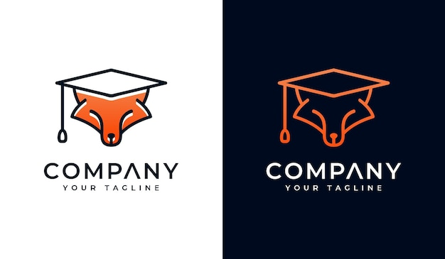 Set of fox with graduate hat logo creative design for all uses