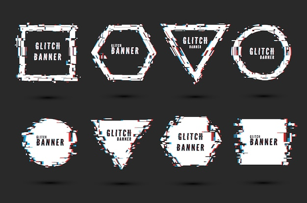 Set of frames and banners with glitch effect