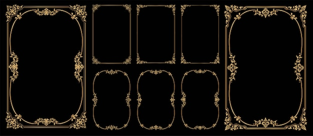 Set of frames and borders on black bacground, gold photo frame with corner