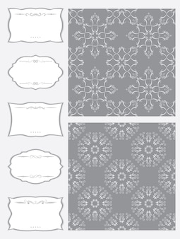 A set of frames of different shapes and seamless fabric