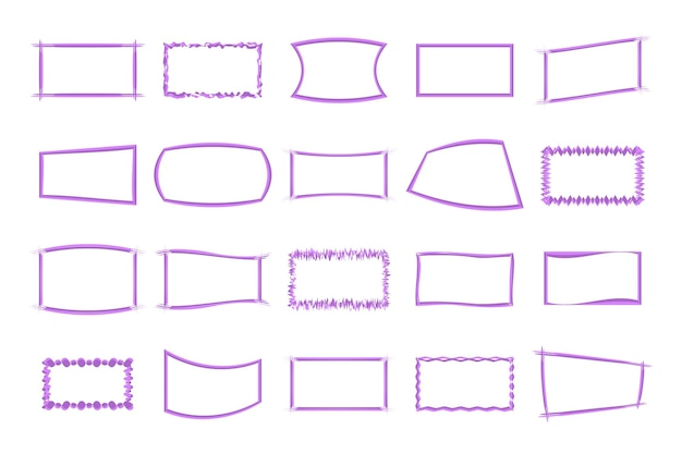 The set of frames isolated on white background in vector.