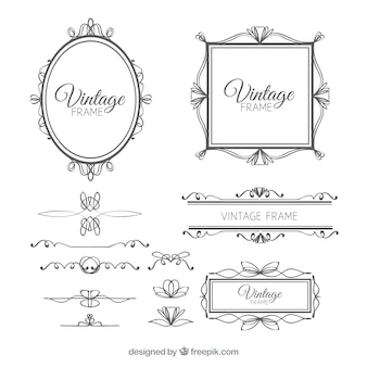 Set of frames in vintage style