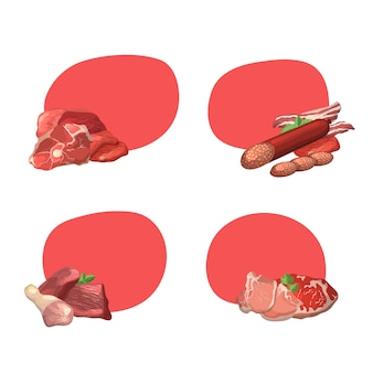 Set of frames with copyspace with cartoon meat pieces illustration