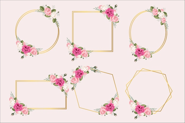 Set of frames with flower rose and leaves