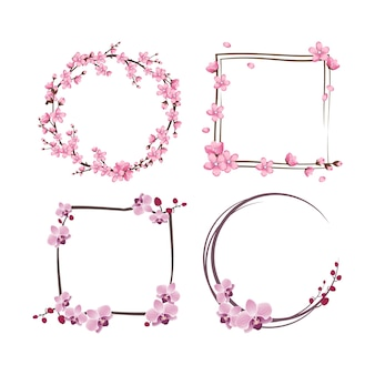 Set of frames with sakura and orchid flowers. pink cute cherry wreaths.