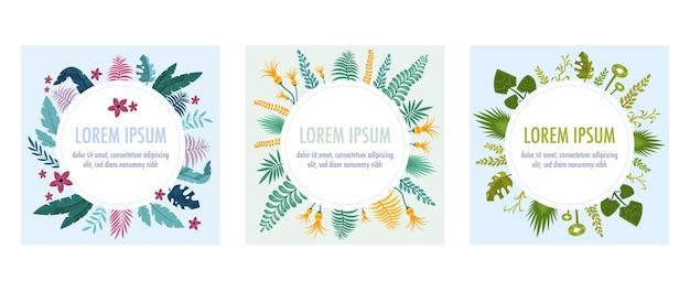 Set di cornici con piante tropicali