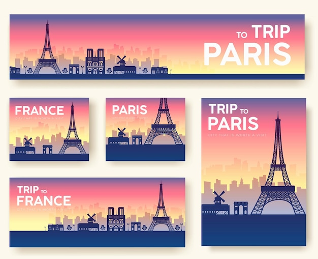 Set of france landscape country ornament travel tour. culture traditional, flyer, magazine, poster.