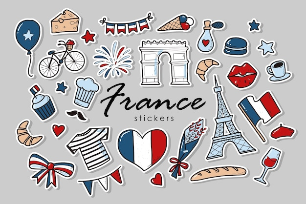 Set of france stickers