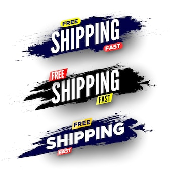 Set of free fast shipping banners with brush strokes.