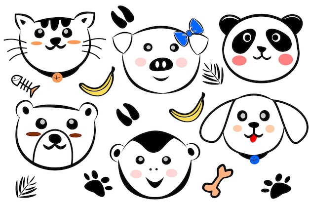 Set of free hand draw cute animals head
