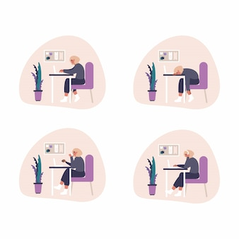 Set of freelance work at home concept illustrations - woman with headset is working with laptop at home. flat illustration of working process at home office.