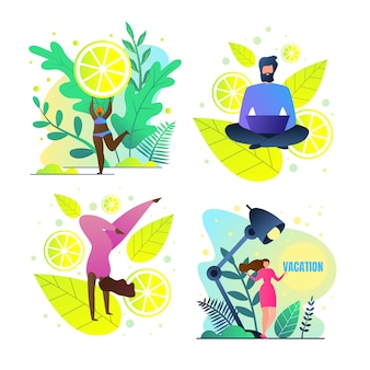 Set freelancers on vacation vector illustration