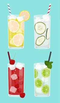 Set of fresh drinks, lemonade, cucumer, cherry, lemon with water