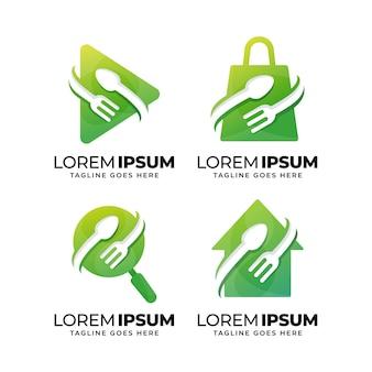 Set of fresh food logo design template