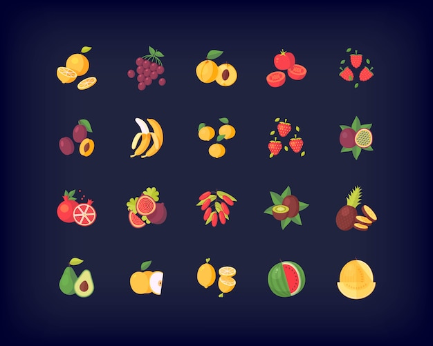 Set of   fresh fruits icons