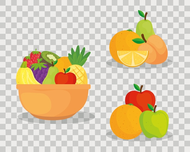 Set of fresh and healthy fruits
